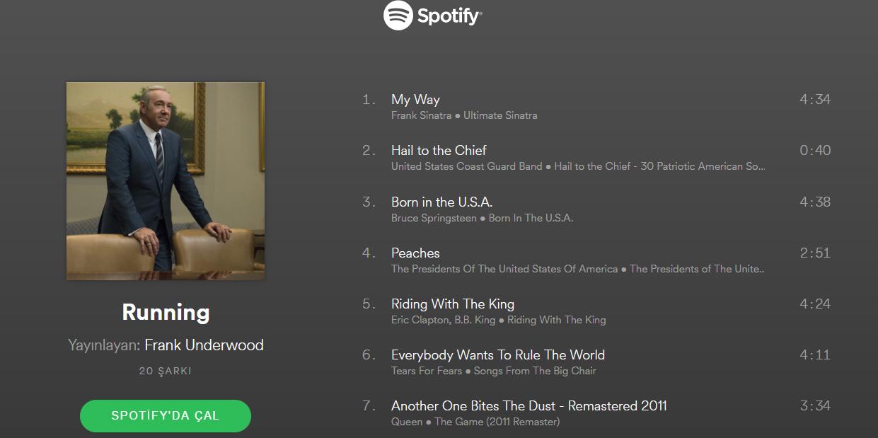 House of Cards'ın Ünlü 3 Karakterinin Spotify Çalma Listeleri